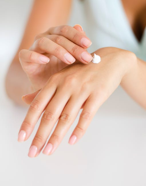 keep yur skin former: woman putting cream on hands.