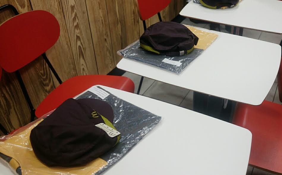 McDonald's Restaurant: My packed uniform waiting on a table.