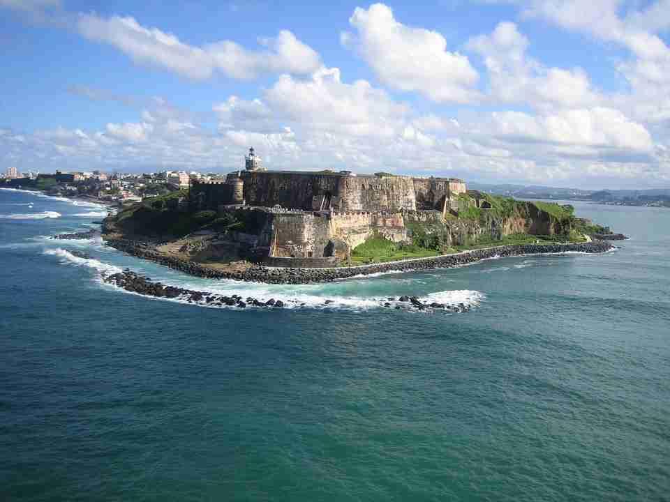 Fort overlooking sea: Caribbean islands