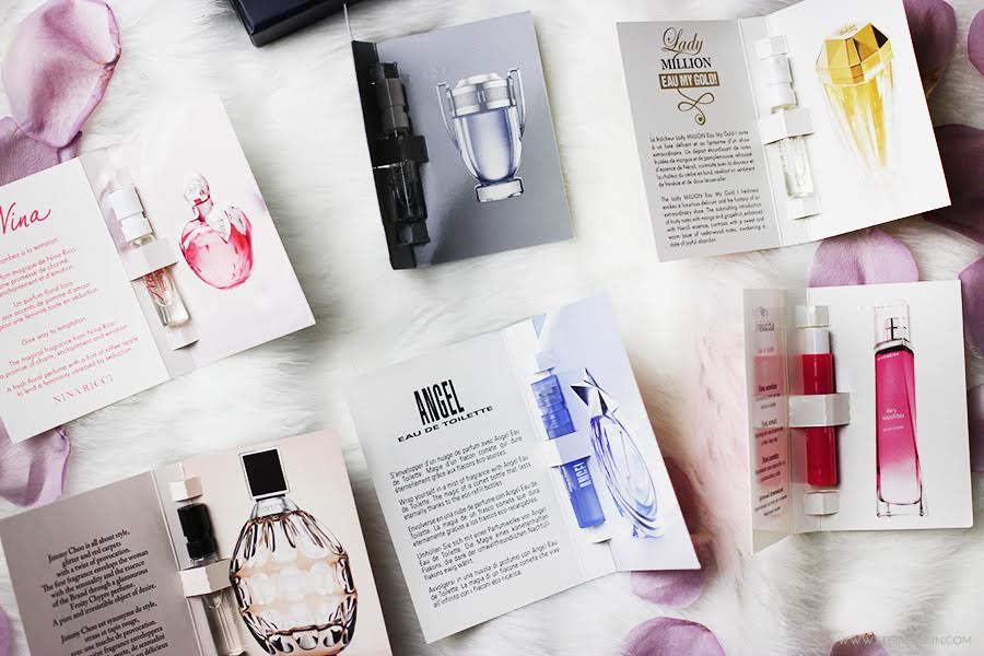 colection of free samples of perfume