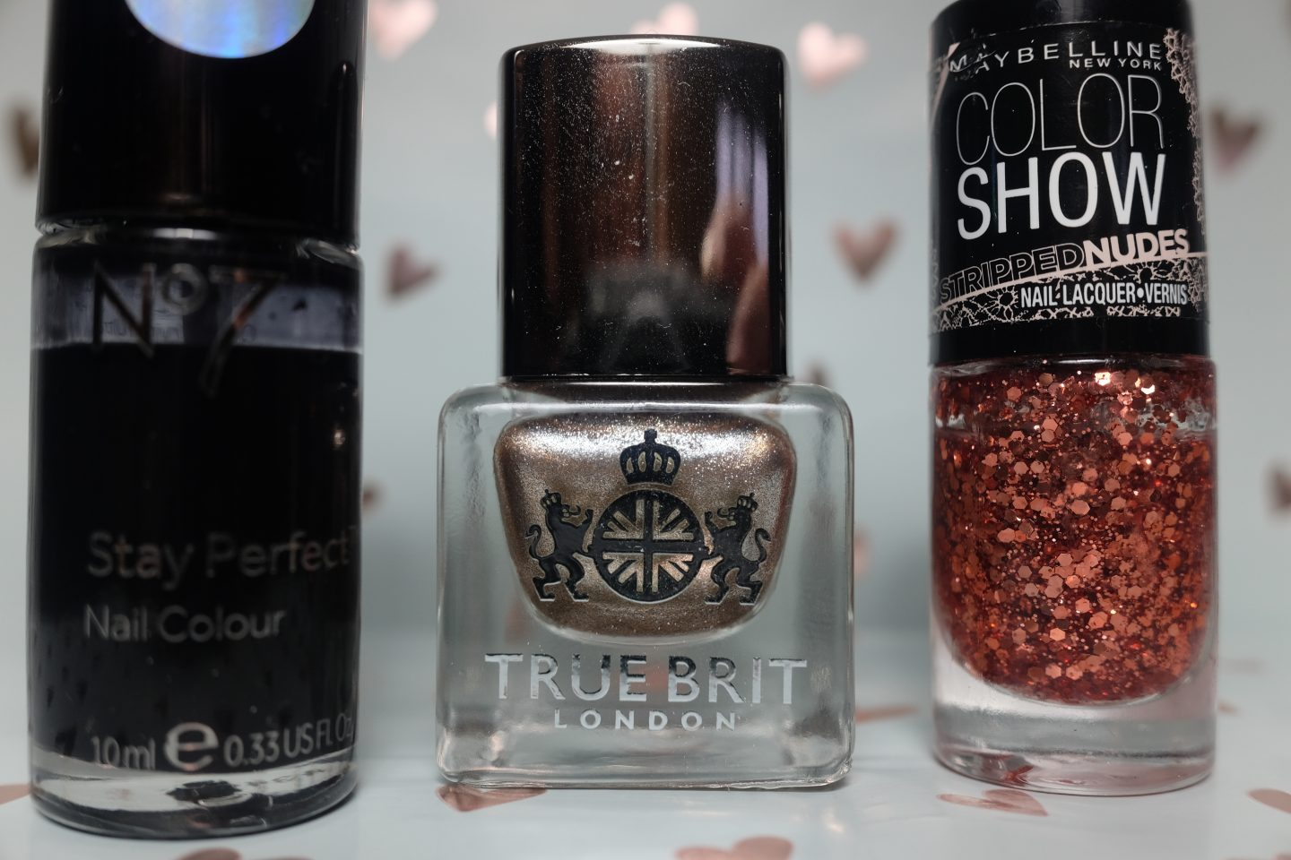 No7 Stay Perfect Nail Colour, True Brit and Maybelline Color Show.