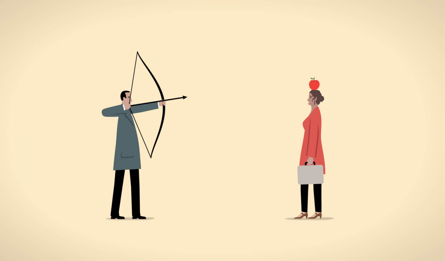trusted family lawyers: cartoon of man pointing arrow at woman