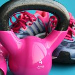 exercise: pink dumbbells