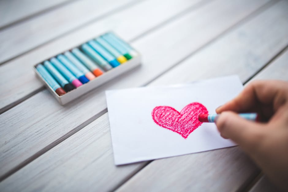 this Valentines day: crayon drawn red heart.