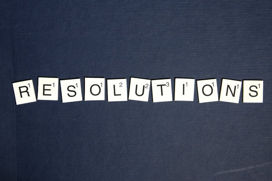 Resolutions written in scrabble cards.