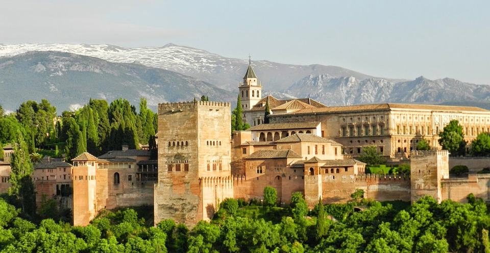 The Moorish Palace of Alhambra in Granada, Andalusia, Spain