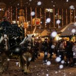 date ideas for couples: horse drawn carriage at Christmas