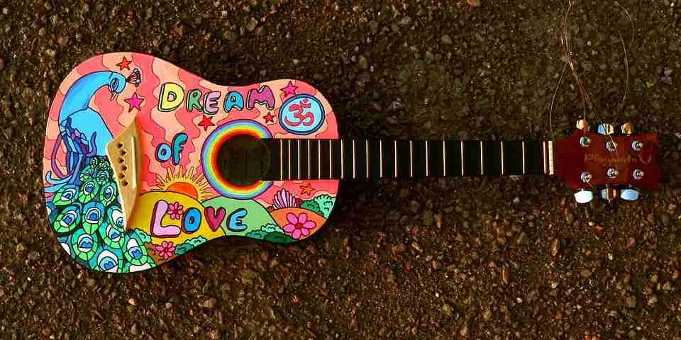 weekends: Multicoloured guitar.