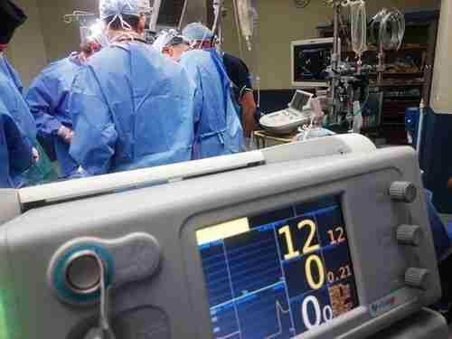 Surgeons performing eye lift surgery.