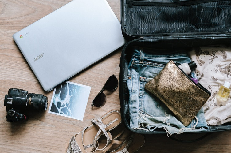 travel hacks: open suitcase.