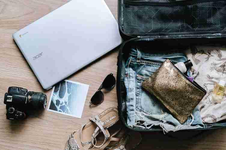 travel hacks: open suitcase.