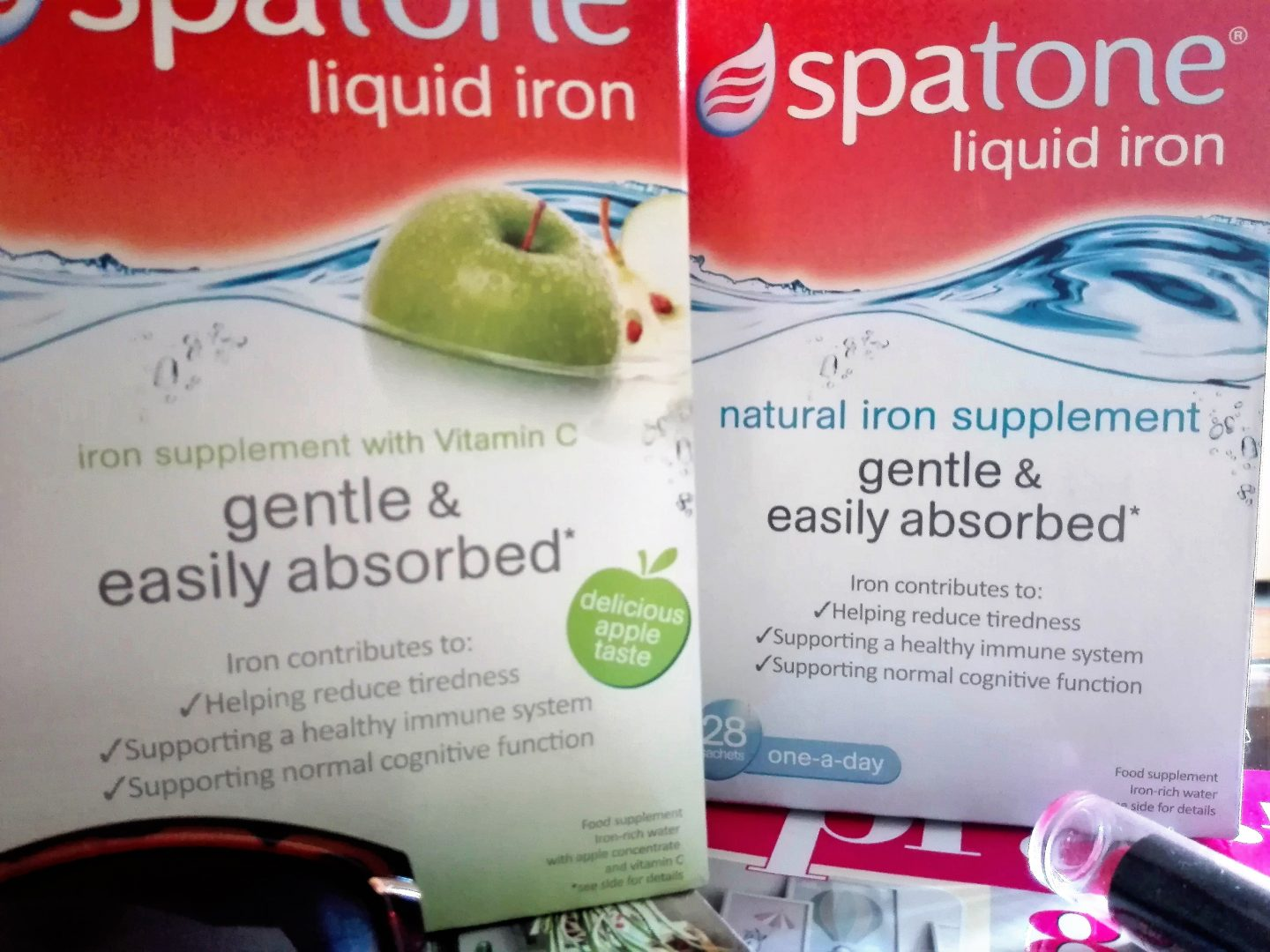 Spatone boxes: original and apple flavoured.