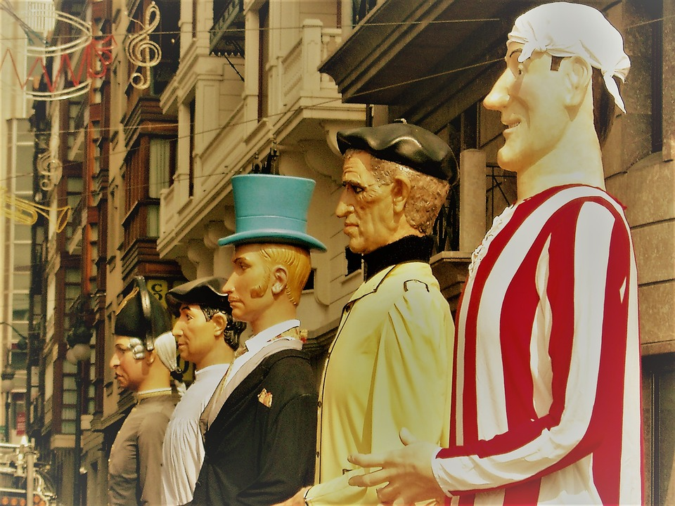 Summer summer festivals: series of full size mannequins in costumes.