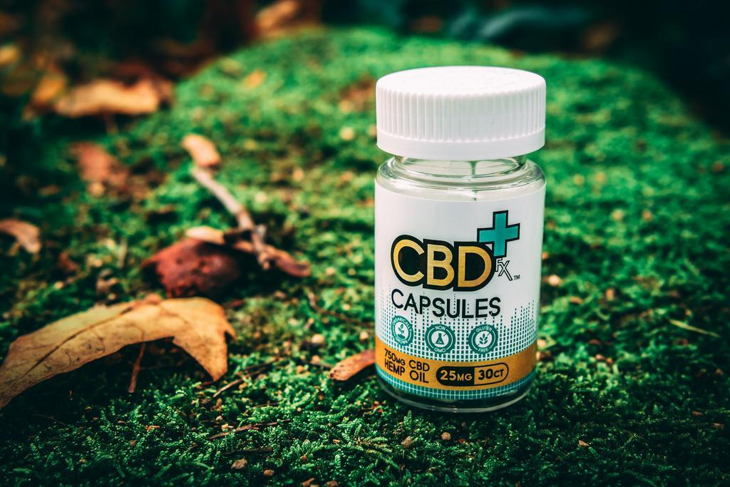 bottle of CBD capsules on a lawn surrounded by fallen leaves