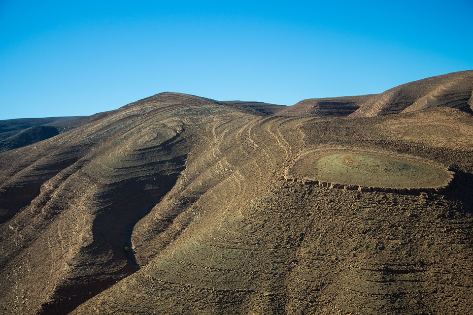Unique travel destinations: High Atlas Mountains on a blue sunny day, Morocco.