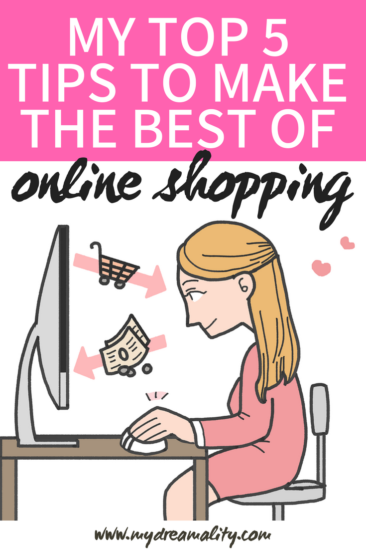 Cartoon picture of young woman sitting at desk using a computer: online shopping