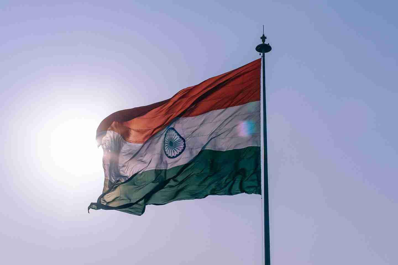 Chennai: Indian flag on flagpole in sunshine