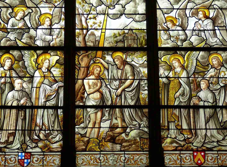 European travel: Romanian church with stain glass windows.