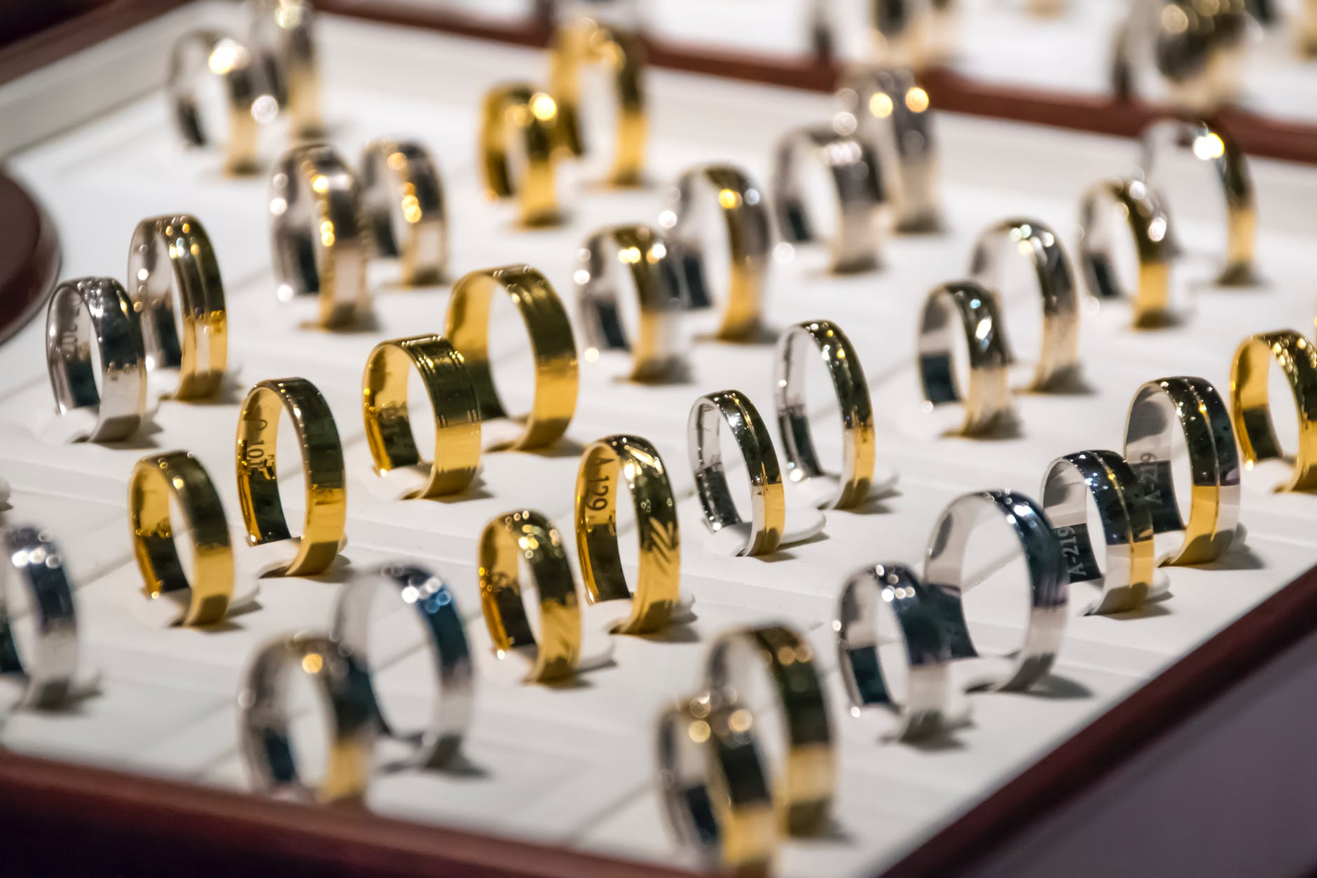 pawning gold: collection of gold rings.