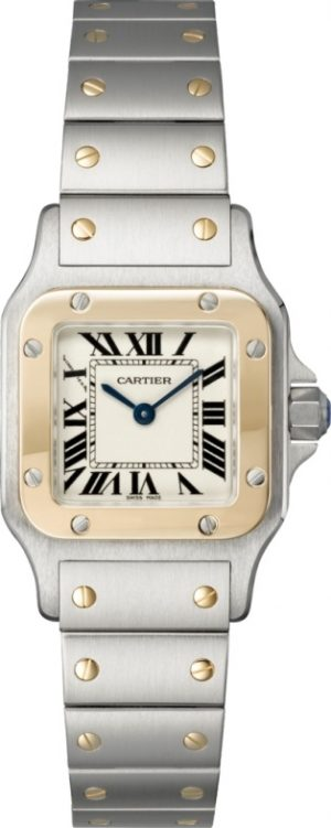 Silver Cartier watch with gold details