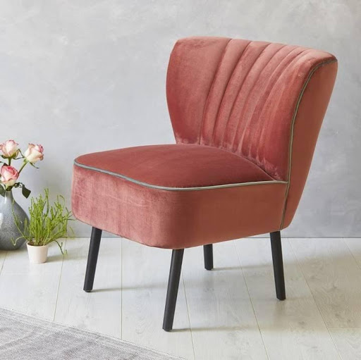 Red velvet single chair.