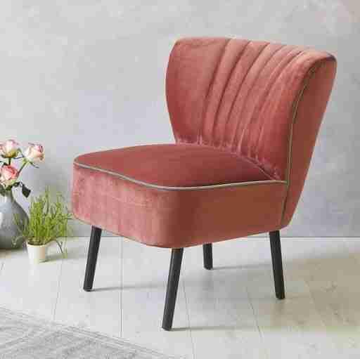 Red velvet single chair.