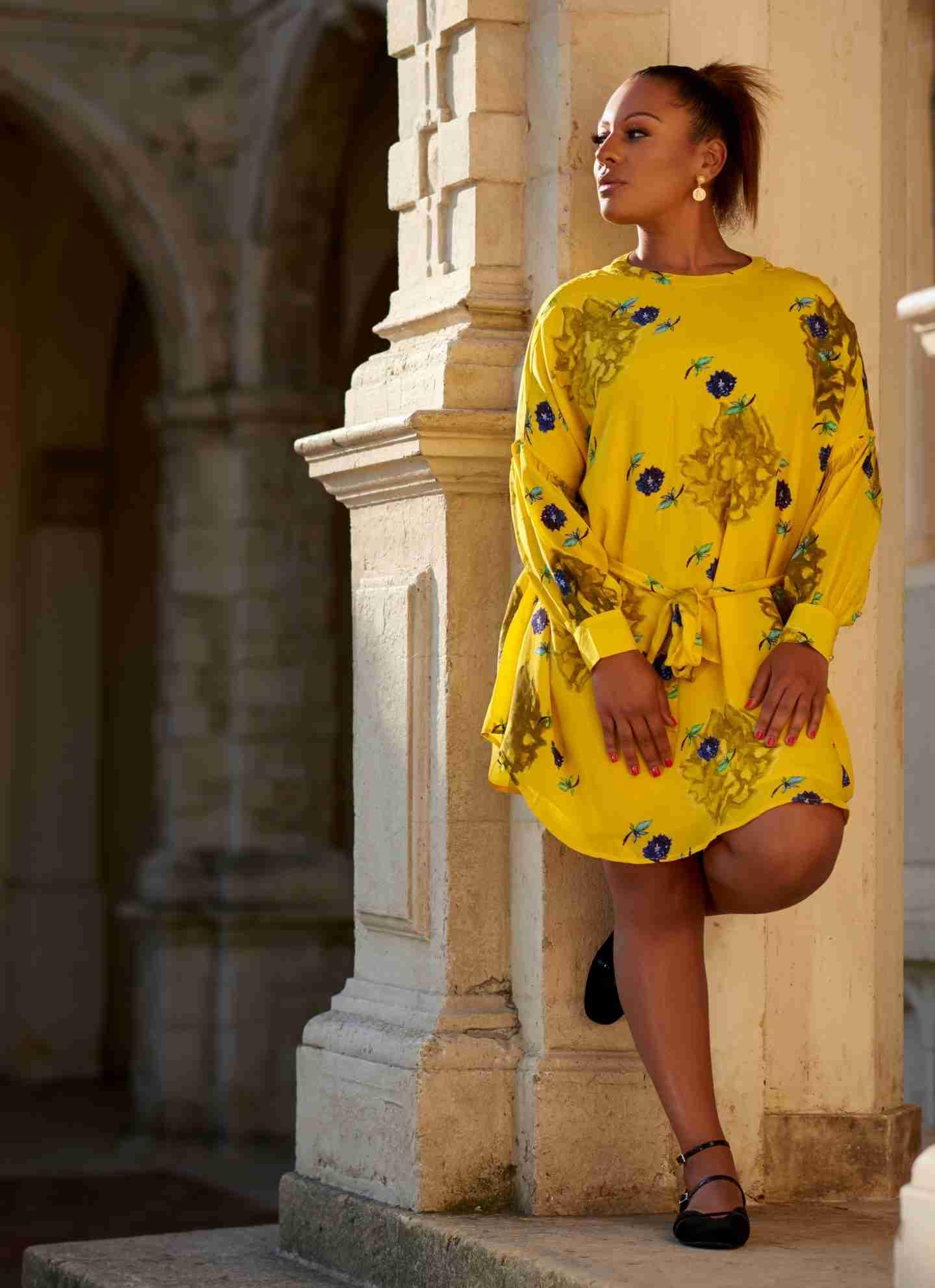 Ezelle: yellow dress.