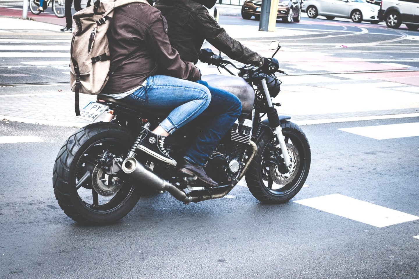 motorcycle rider: couple on motorcycle.