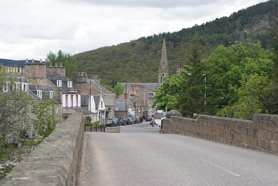 Scotland's local roads: Bridge road in local village.