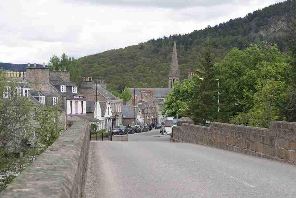 Scotland's local roads: Bridge road in local village.