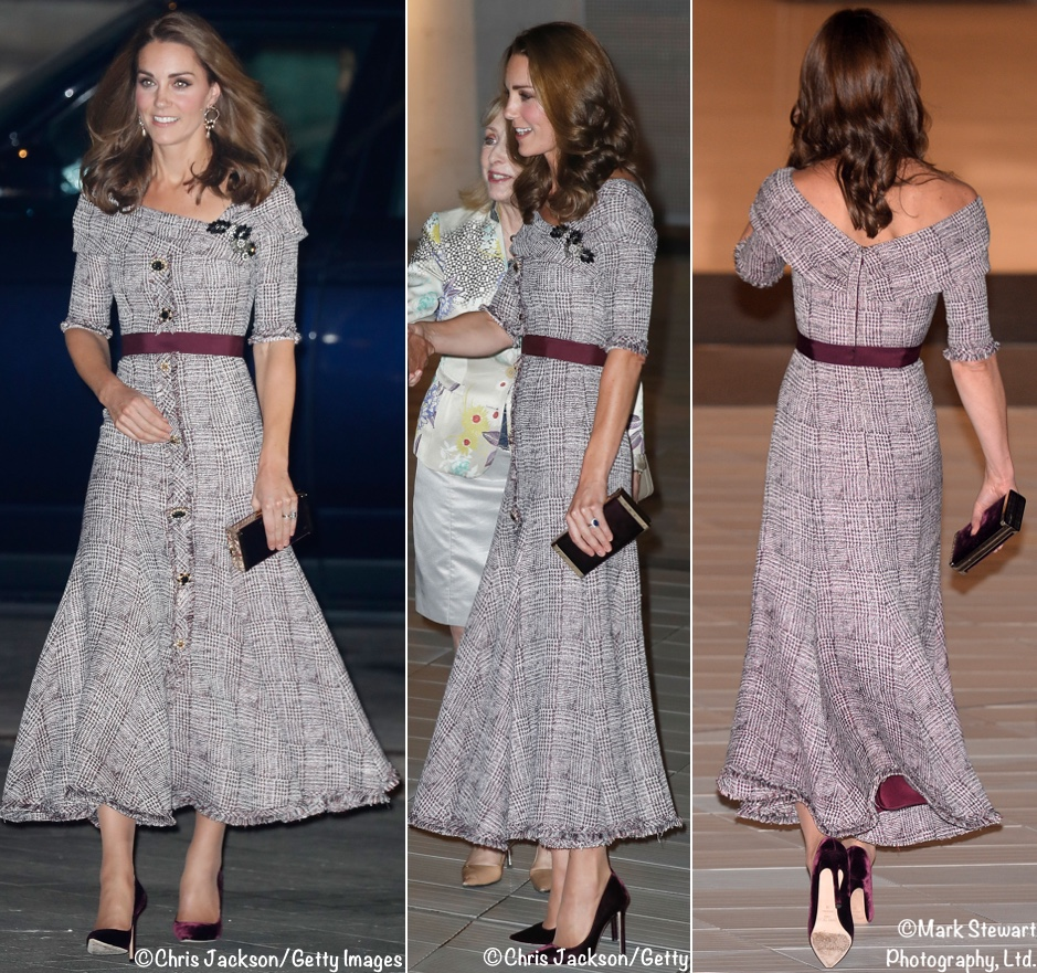 royal fashionista: Kate in a long pattered black and white dress.