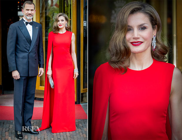royal fashionista: Letizia in a bright red long dress