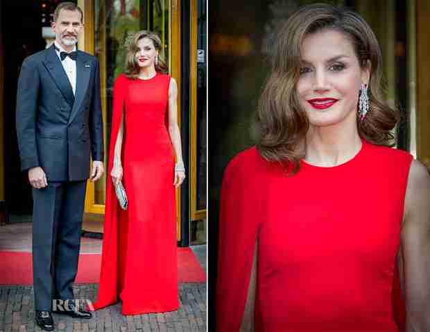 royal fashionista: Letizia in a bright red long dress