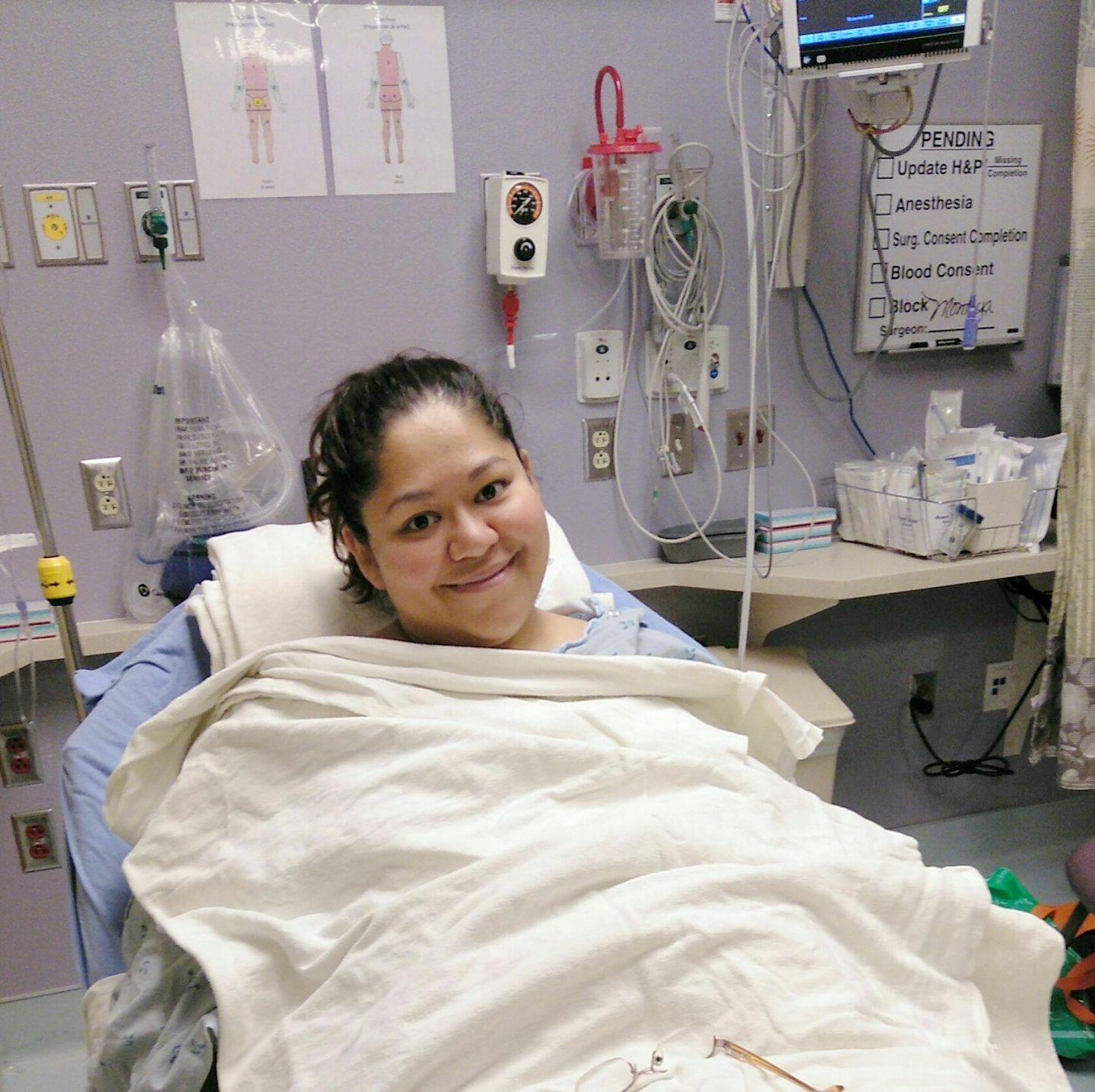 My health: Picture of me in a hospital bed awaiting my surgery