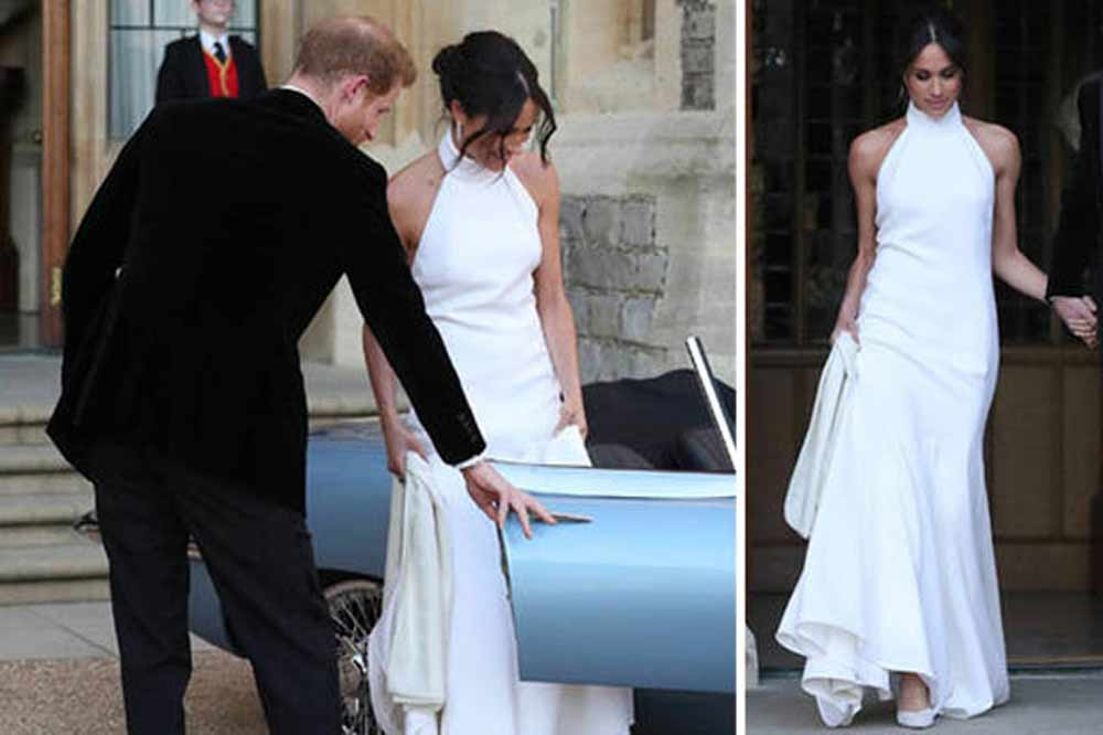 royal fashionista: Meghan in her white wedding dress.