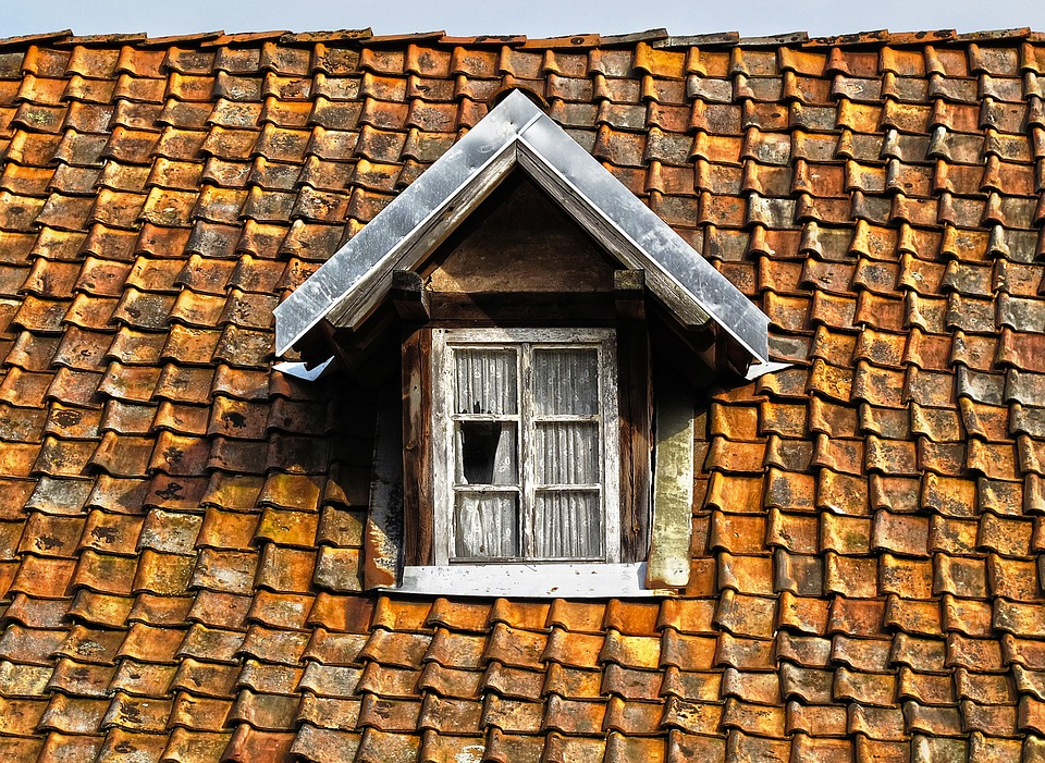 common problems with conservatories: tile slated brown roof with window in it.