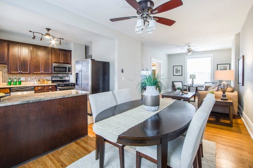 Brown mahogany dining table in kitchen