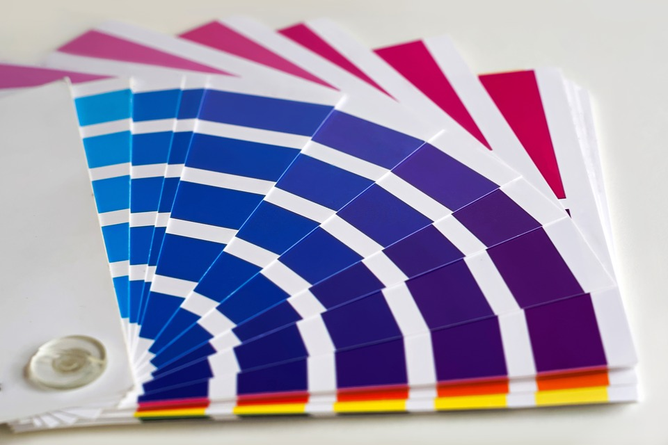 paint swatches in bright colours