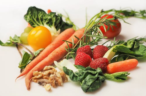 Assorted fruit and veg: healthier person