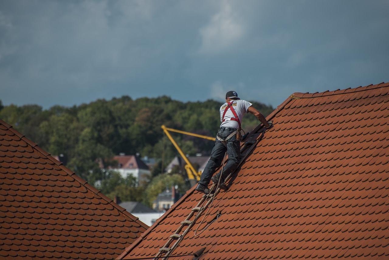 A roofing expert fixing a roof