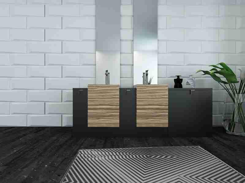 bathroom: subway tiles