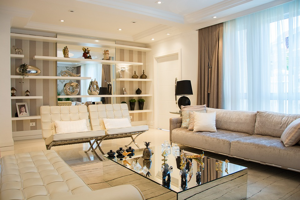 luxurious white and grey living room