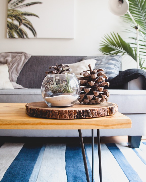 Add a touch of luxury: brown coffee table with pine cone decor and a sofa in the background