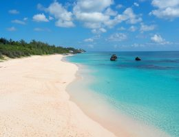 Bermuda: white sandy beach.