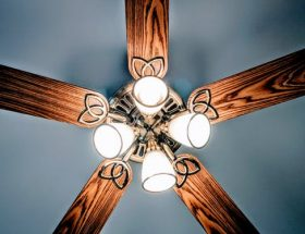 ceiling fans: wooden lighted ceiling fan.