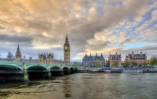 London this Autumn: Westminster Bridge with Big Ben.
