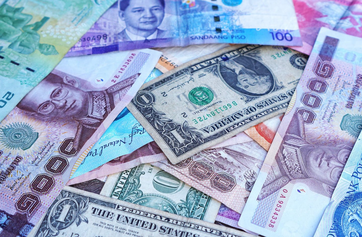 backpacking: notes in many different currencies.