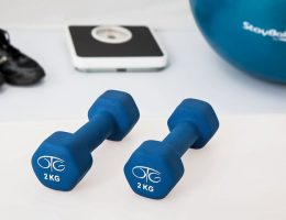home gym essentials: blue pair of dumbbells
