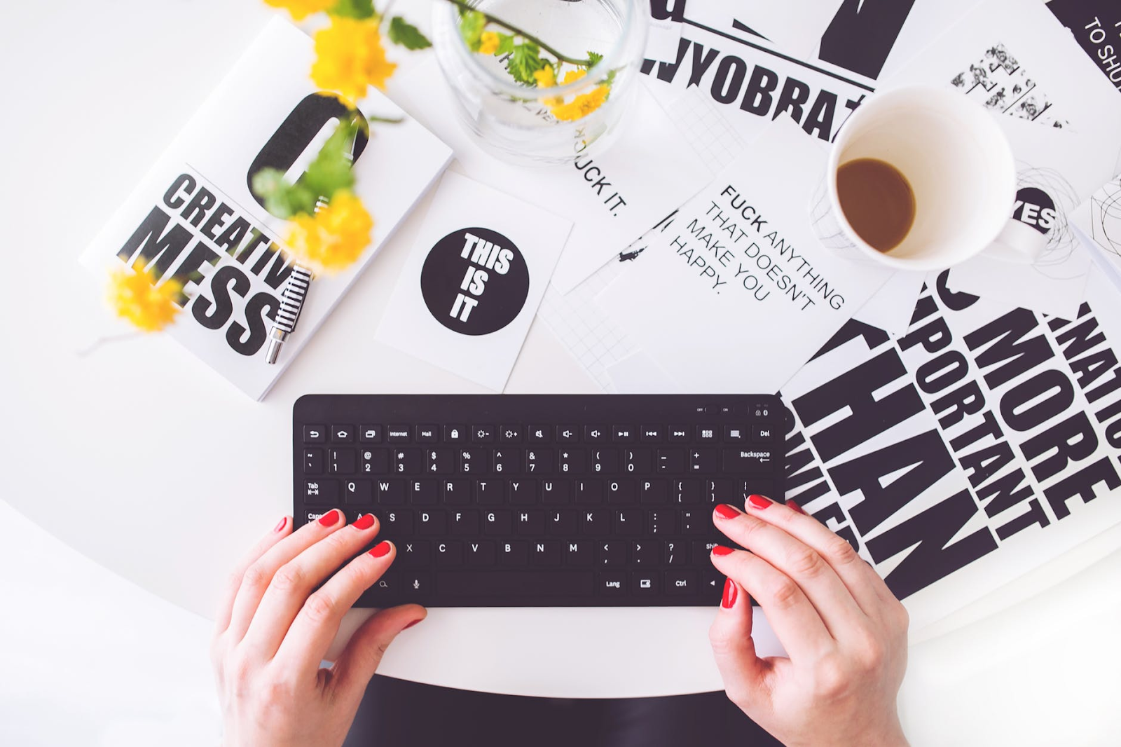Building a professional brand for your blog: Person typing on a keyboard.