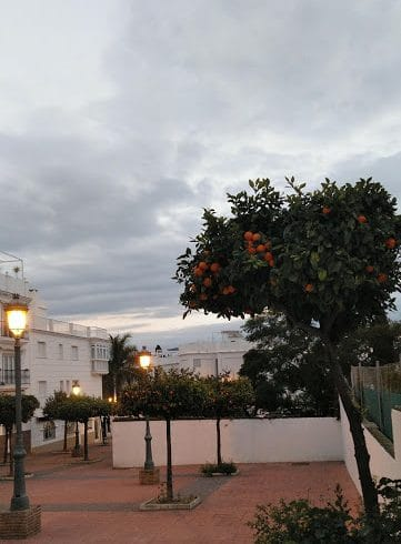 Patio in Nerja in evening.